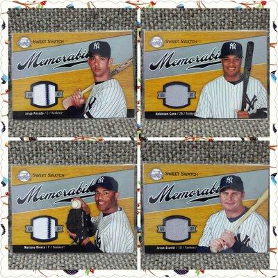 2007 Jorge、Mariano、Robinson、Jason球衣棒球卡紐約洋基4張一起賣!