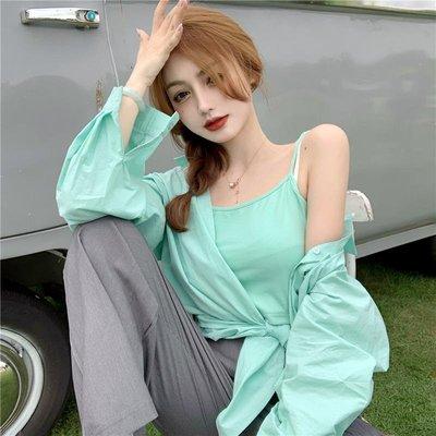 套裝2020年新款女復古氣質薄荷綠百搭襯衫+短款小背心+灰色西裝褲