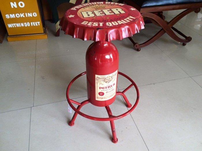【布拉格歐風家具】美式加州工業風仿舊復古鐵藝BEER瓶蓋休閒椅(酒吧椅/餐廳/漢堡/民宿/設計/庭院)