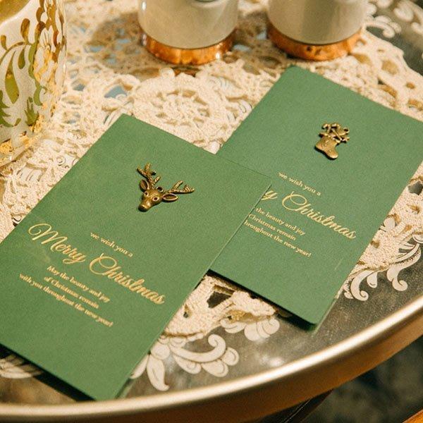聖誕節復古金屬小鹿雪花燙金綠色卡片信封【XM0221】《Jami Honey》