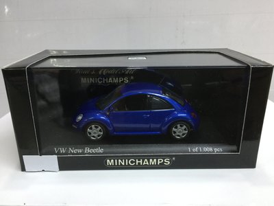 MINICHAMPS 1/43 VW NEW BEETLE BLUE (430 058004) (04071) (PIU50)