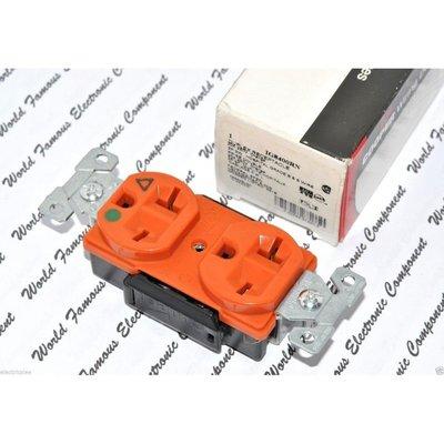 美國COOPER IG8400RN 20A 250V 6-20 DUPLEX型 獨立接地醫療級插座 送93101白鐵蓋板