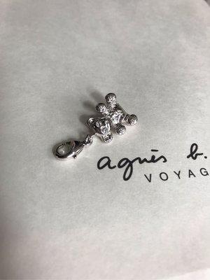 (最後1隻) 蝕本清貨 Agnes b 迷你 可愛小熊 熊仔 閃石 b LOGO 吊飾 吊墜 (保証正貨及全新) 可掛頸鏈或手鍊