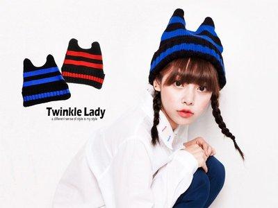 『現貨』惡魔角 牛角 條紋毛線帽 親子針織帽【XF0002】- 崔可小姐