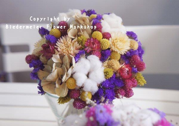 【俾德麥花坊】古典深紫系乾燥花新娘捧花 手綁乾燥花 婚紗外拍 攝影外拍