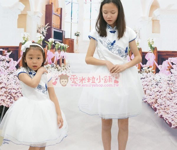 青花瓷旗袍 兒童小禮服 中國風洋裝 ☆愛米粒☆ 紅花瓷旗袍 95-130CM
