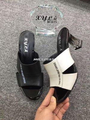 JMW集美屋韓國專櫃2019夏季新款韓版吸引力真皮透明酒杯跟高跟女拖鞋官方網正品