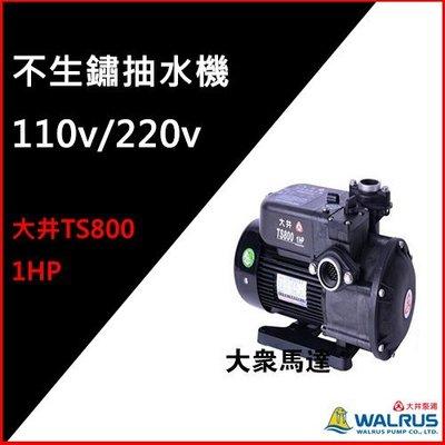 (@大眾馬達~)~大井TS800、1HP塑鋼不生銹抽水機、抽水馬達。(已停產)改版最新款TS800B