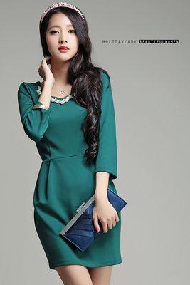 【一百元起標無底價】小中大尺碼HD6667優雅簡約釘珠七分袖壓折洋裝‧綠2L