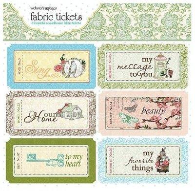 《散步生活雜貨-文具散步》日本 美國製 Webster's Page-Fabric tickets布紋復古車票(6枚入)