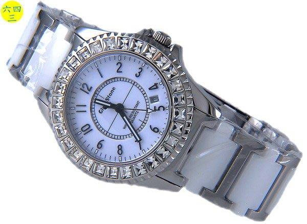 (六四三精品)GLSD STONE(真品)高檔白陶瓷.不銹鋼.藍寶石水晶鏡面大型鑽錶!白面