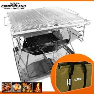 【CAMP LAND】XL特大號日本焚火台ALL-IN-ONE送收納袋BBQ烤肉架P086-ST220BX【推薦+】