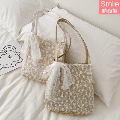 【P253】SMILE-清新甜美.蕾絲大容量水桶手提草編編織單肩包