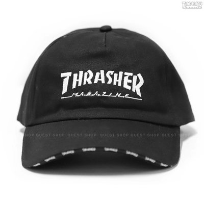 【QUEST】THRASHER HOMETOWN 5 PANEL SNAPBACK 字體LOGO後扣帽 黑色 滿版帽沿