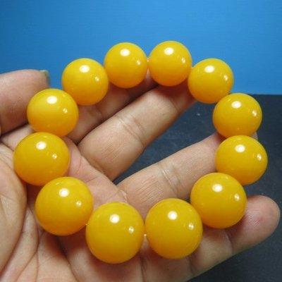 【競標網】高檔漂亮金田黃色琥珀蜜臘造型手珠19mm(回饋價便宜賣)限量5組(賣完恢復原價250元)