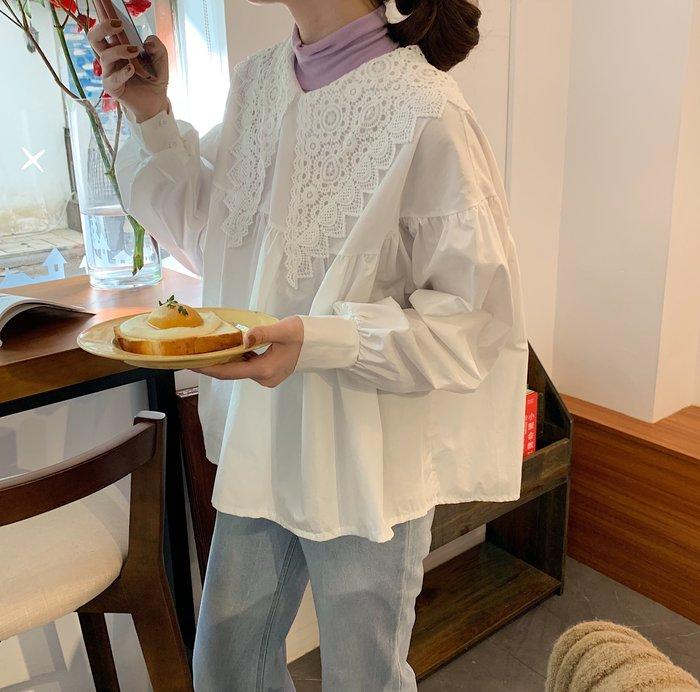 小香風 短袖T恤 時尚穿搭 蕾絲花邊娃娃襯衫女早春寬松設計感小眾ins網紅長袖上衣