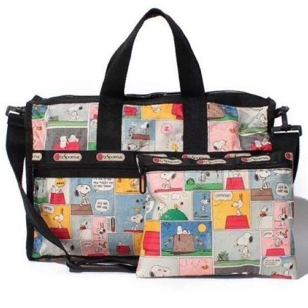 美國 Lesportsac x Snoopy 7184手提肩背斜背大款旅行包 附同款收納包 漫畫格 史努比 另有7384