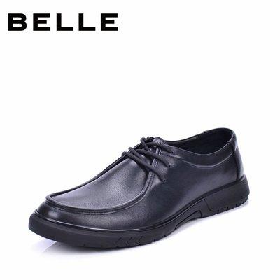 男裝衣櫃Belle/百麗男鞋系帶軟牛皮橡膠純黑色商務休閒鞋圓頭防滑日常皮鞋