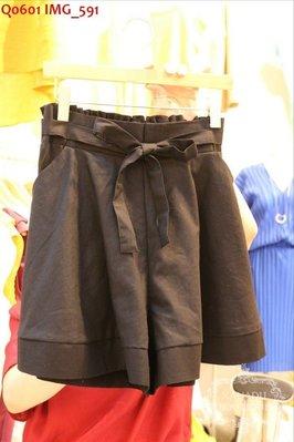 ♥出清 可純超取♥ 腰鬆緊綁帶造型褲裙(黑色/杏色現貨一) 正韓