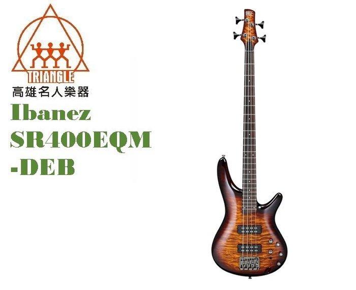 【IBANEZ旗艦店@高雄名人樂器】2019 印尼廠 SR400EQM-DEB bass 電貝斯