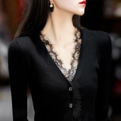 現貨  睫毛蕾絲針織開衫 萌蔓物語【KF0267】韓氣質女長袖針織衫