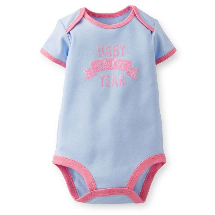 【Nichole's歐美進口優質童裝】Carter's 女童粉藍色短袖包屁衣 *Old Navy/OshKosh
