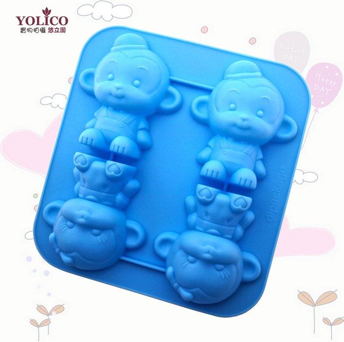【悠立固】Y08 4孔小猴子膠模矽膠模具 手工皂模具 烘焙工具 巧克力蛋糕模具 冰盒果凍模 蠟燭模 擴香石 薰香模食品級