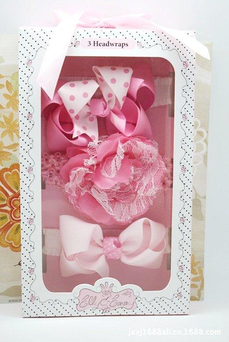 ☆草莓花園☆女童髮帶 女寶寶頭飾 嬰兒頭飾 新生婴兒禮品 滿月周歲拍照髮帶禮盒 花色現貨1 附精美外盒