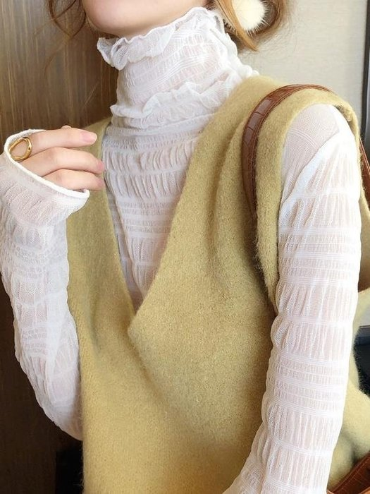 蕾絲上衣蕾絲打底衫女長袖2020年新款秋裝高領雪紡衫網紗內搭上衣氣質小衫免運 柳風向