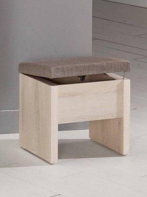 【風禾家具】FQM-581-4@AS橡木色布面化妝椅【台中1200送到家】粧椅 收納椅 低甲醛 棉麻布 北歐風 傢俱