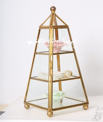 [ Atelier Smile ] 鄉村雜貨 3D簡約立體三角塔形 玻璃展示框架 首飾架 收納盒 手工製 大款(現+預)