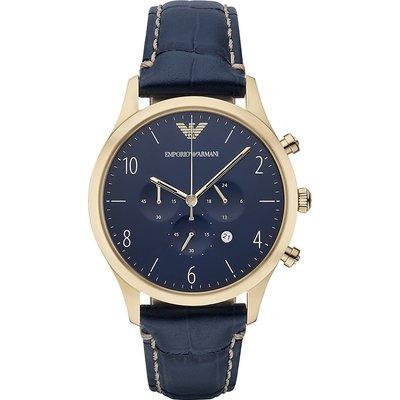 [永達利鐘錶 ] Emporio Armani  義大利精品  紳士復刻經典計時腕錶-藍x金框/43mm AR1862