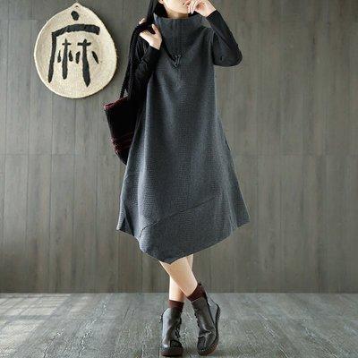 棉復古文藝無袖馬甲背心裙不規則寬鬆中長款針織女毛衣 酒紅色 灰色 黑色 均碼