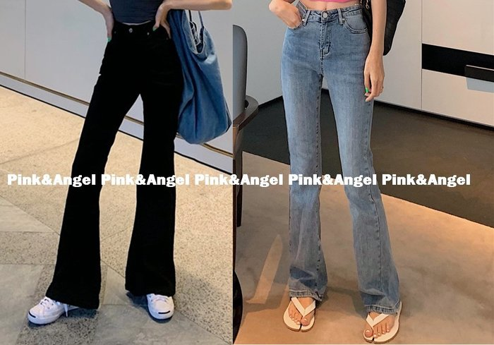 ❤Pink&Angel❤【64348】新款休閒複古百搭高腰喇叭褲牛仔寬腿牛仔長褲。2色。現+預