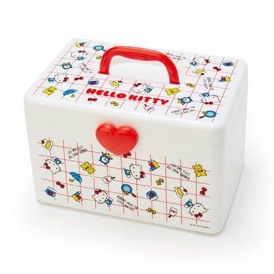 【PINK】 Hello Kitty 紅格子愛心萬用收納提箱/化妝箱/醫藥箱/工具箱