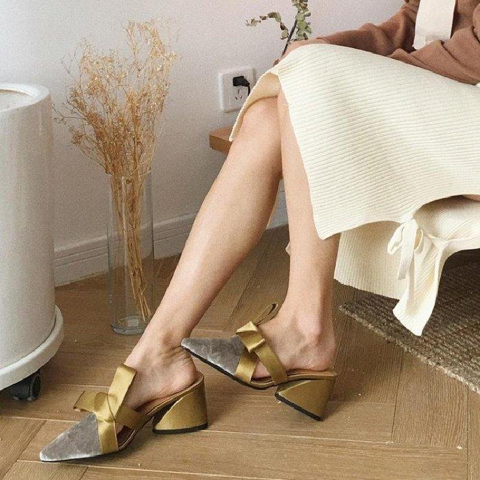 涼鞋 拖鞋 春夏季新款絲絨面粗高跟穆勒鞋復古甜美蝴蝶結涼女半 WN8 5426