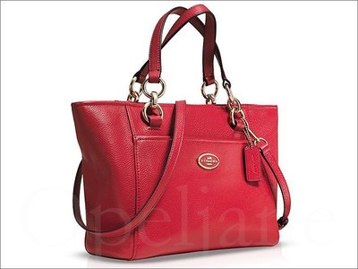 紅色喜洋洋 美國名牌 COACH 35030 MINI 專櫃款防刮真皮革肩斜背包托特包手提包 全新原廠包裝非OUTLET