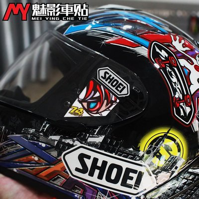 魅影車貼 SHOEI加藤DAIJIRO X12X14競技鏡片膜貼紙頭盔反光貼