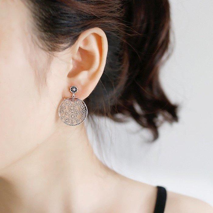 《現貨》925純銀時尚復古做舊樓空花卉耳釘 耳飾 耳環 耳針 生日情人節 聖誕節 Baonizi