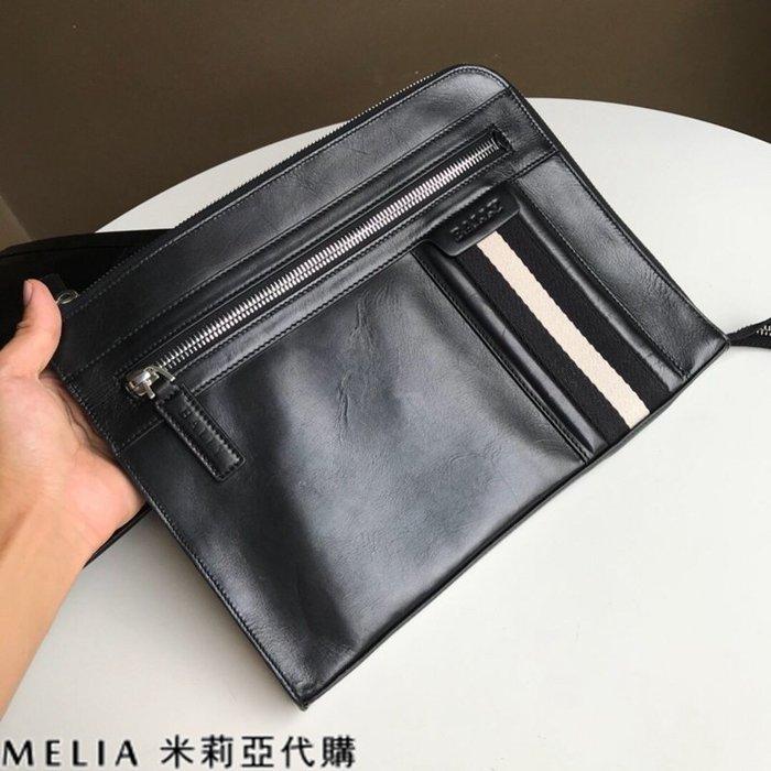 Melia 米莉亞代購 美國代買 BALLY 貝利 男士款 扁手拿包 文件包 油蠟皮質越用越亮 黑色