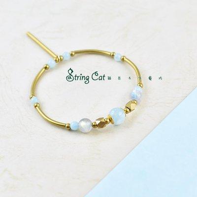 【String Cat】《清揚》原創天然海藍寶手環 拉長石 黃銅 手鍊 情人 輕珠寶 日韓