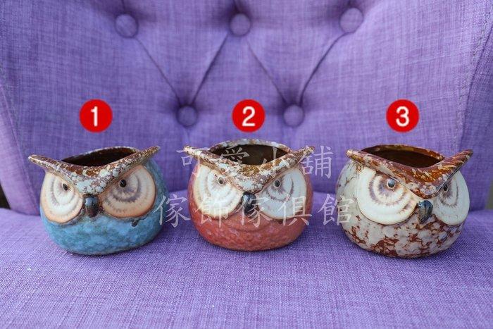 (台中 可愛小舖)可愛動物鄉村風貓頭鷹六款花器盆器盆栽花盆擺飾裝飾飾品擺件美觀微景觀陽台窗