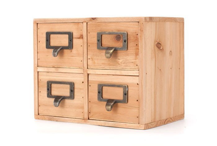 [ Atelier Smile ] 鄉村雜貨 原木四抽分類收納櫃 儲物櫃 收納盒 (現貨)