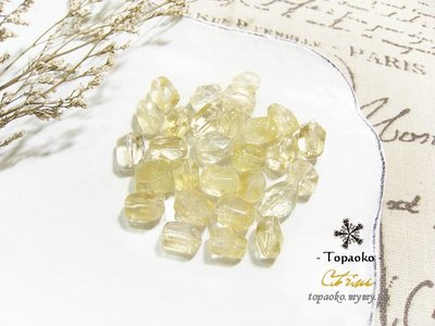 天然石.手作串珠 天然巴西黃水晶隨形切面珠串裝約38P【F8942-1】約11mm切角刻面條珠DIY《晶格格的多寶格》