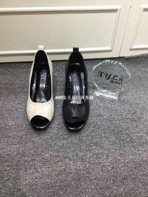 JMW集美屋韓國專櫃2019春夏新款韓版吸引力真皮粗跟高跟魚嘴女鞋官方網正品