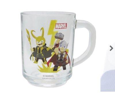 (現貨)玻璃 直徑約7x9cm 有耳 透明身 水杯 Marvel 超級英雄 Mighty Saw&Loki 日本直送 全新品