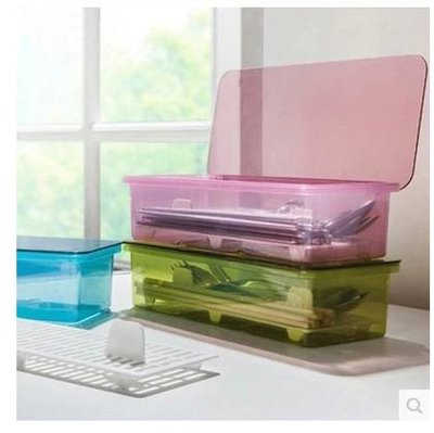 瀝水防塵餐具收納盒 透明餐具收納盒 筷子收納 刀叉收納 湯匙收納 綠色 粉色 藍色 置物盒