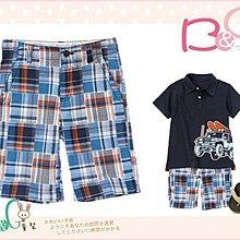 【B& G童裝】正品美國進口Crazy8 藍橘格子拼布圖樣短褲7號6-7yrs