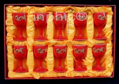 INPHIC-10個紅色龍鳳酒杯白酒陶瓷 容量3020毫升高腳杯套裝 小酒杯
