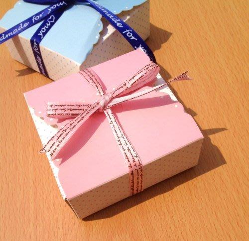 E231-粉/藍波點喜糖盒 巧克力盒 手工皂盒 餅乾小西点包装盒 -6元